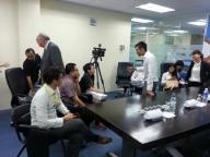 Kesh Sandhu managing the media at a Launch of CHEP Brambles factory in Kampar Klang